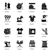 jeu d'icônes de matériel de couture et de couture vecteur