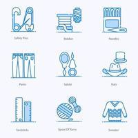 jeu d'icônes d'éléments de couture et de couture vecteur