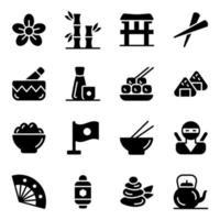 jeu d'icônes de cuisine traditionnelle japonaise vecteur