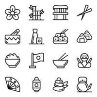 jeu d'icônes d'éléments traditionnels japonais vecteur
