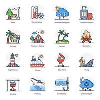 jeu d'icônes d'élément de voyage et de vacances vecteur