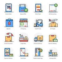 jeu d'icônes de livraison et de commerce électronique vecteur