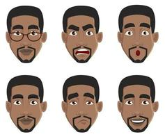 expressions du visage de l'homme afro-américain vecteur