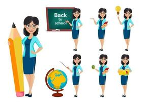 retour à l'école. personnage de dessin animé de femme enseignant vecteur
