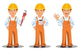 beau constructeur en uniforme vecteur