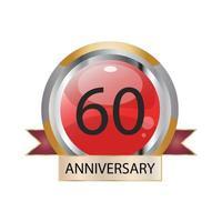 Illustration de conception de vecteur de célébration anniversaire 60 ans