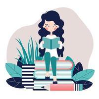 une fille est assise et lit un livre vecteur