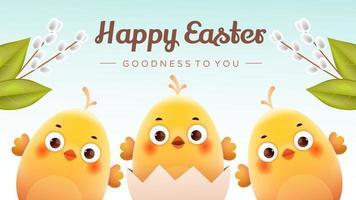 carte postale joyeuses Pâques vecteur