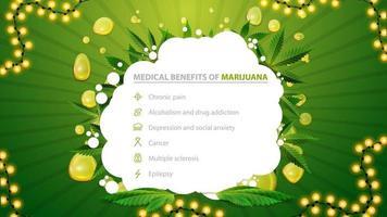 affiche blanche et verte avec des avantages médicaux de la marijuana. bannière pour site Web avec des feuilles de marijuana et une forme abstraite. avantages des utilisations de la marijuana à des fins médicales vecteur