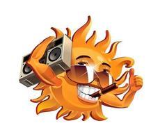 le soleil amusant, fume un cigare et écoute le magnétophone. illustration vectorielle vecteur