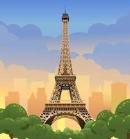 tour eiffel à paris. coucher de soleil sur les champs elysees. soirée paris. coucher de soleil en france, illustration vectorielle vecteur