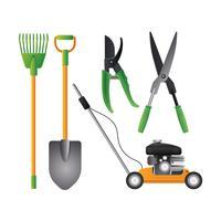 Ensemble coloré d'outils de jardinage réaliste essentiel vecteur