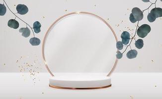 piédestal 3d réaliste avec des feuilles d'eucalyptus sur fond naturel pastel. présentoir de podium vide à la mode pour la présentation de produits cosmétiques, magazine de mode. copie espace vecteur
