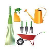 Ensemble coloré de jardinage outils réalistes vecteur