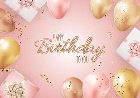 joyeux anniversaire avec des ballons réalistes, une boîte-cadeau et des confettis. illustration vectorielle vecteur