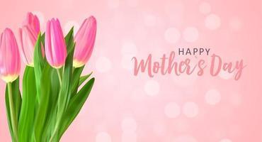 fond de fête des mères heureux avec des fleurs de tulipes réalistes. illustration vectorielle vecteur
