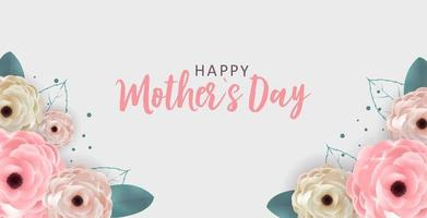 fond de fête des mères heureux avec des fleurs. illustration vectorielle vecteur