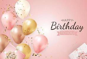 joyeux anniversaire avec des ballons réalistes et une boîte-cadeau illustration vectorielle vecteur