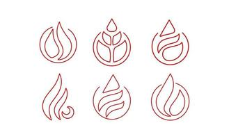 feu flamme ligne art logo icône design vecteur