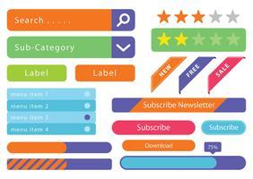 Éléments filaires, boutons Web vecteur