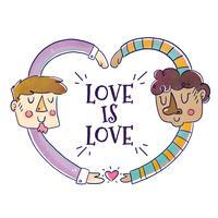 Couple d'hommes mignons avec une citation d'amour pour célébrer le mois vecteur
