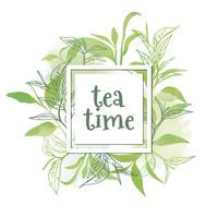 Feuilles de thé aquarelle à l'heure du thé vecteur