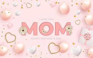 je t'aime maman. fond de fête des mères heureux. illustration vectorielle vecteur