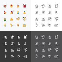 malades et symptômes blessures silhouette icônes ligne plate design vector set