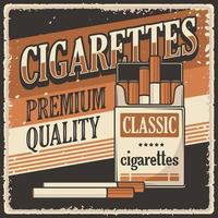 signe d'affiche de cigarettes vintage rétro vecteur