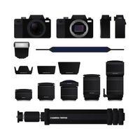 Ensemble d'équipement de caméra, objectif, pare-soleil, trépied, flash externe et sangle sur fond blanc, illustration vectorielle vecteur