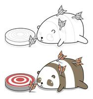 dessin animé panda est abattu avec une flèche à colorier vecteur