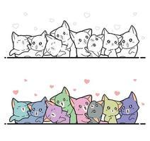 dessin animé chats facile à colorier pour les enfants vecteur