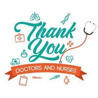 carte de remerciement médecins et infirmières vecteur