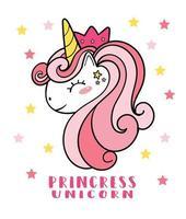 Tête de visage de licorne mignon poney rose avec couronne, licorne princesse, illustration de dessin animé de doodle vecteur