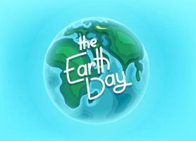 la carte de vecteur de jour de la terre avec inscription de lettrage. modèle de vecteur de page de destination