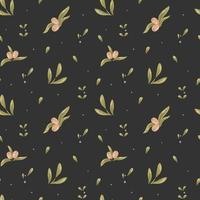 modèle sans couture de vecteur d'olives, de feuilles et de petites baies sur un fond sombre. papier numérique, ornement pour linge de lit