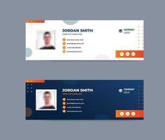 signature d'e-mail orange et bleue vecteur