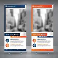 roll up marketing orange et bleu vecteur