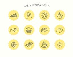 jeu d'icônes de nourriture vecteur doodle