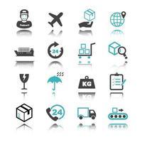 icônes logistiques avec réflexion vecteur