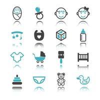 icônes de bébé avec réflexion vecteur