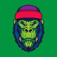 Hipster Gorilla Head Old School Illustration de tatouage vecteur