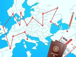 concept de vecteur de destinations de voyage avec la carte