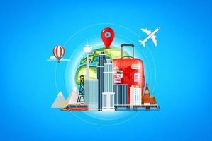 concept de destinations de voyage. illustration vectorielle vecteur
