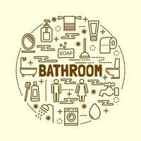 ensemble d & # 39; icônes de ligne mince minime de salle de bain vecteur