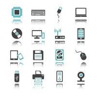 icônes d & # 39; ordinateur et de périphérique avec réflexion vecteur