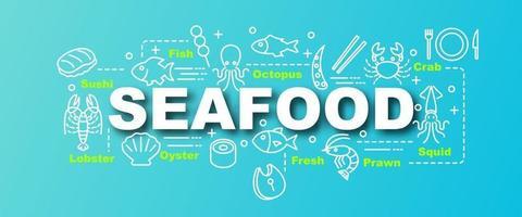 bannière tendance de vecteur de fruits de mer
