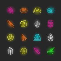 jeu d'icônes de boulangerie au néon vecteur