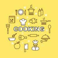 cuisson des icônes de contour minimal vecteur