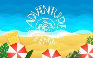 illustration vectorielle tropical avec inscription de lettrage. temps de l'aventure vecteur